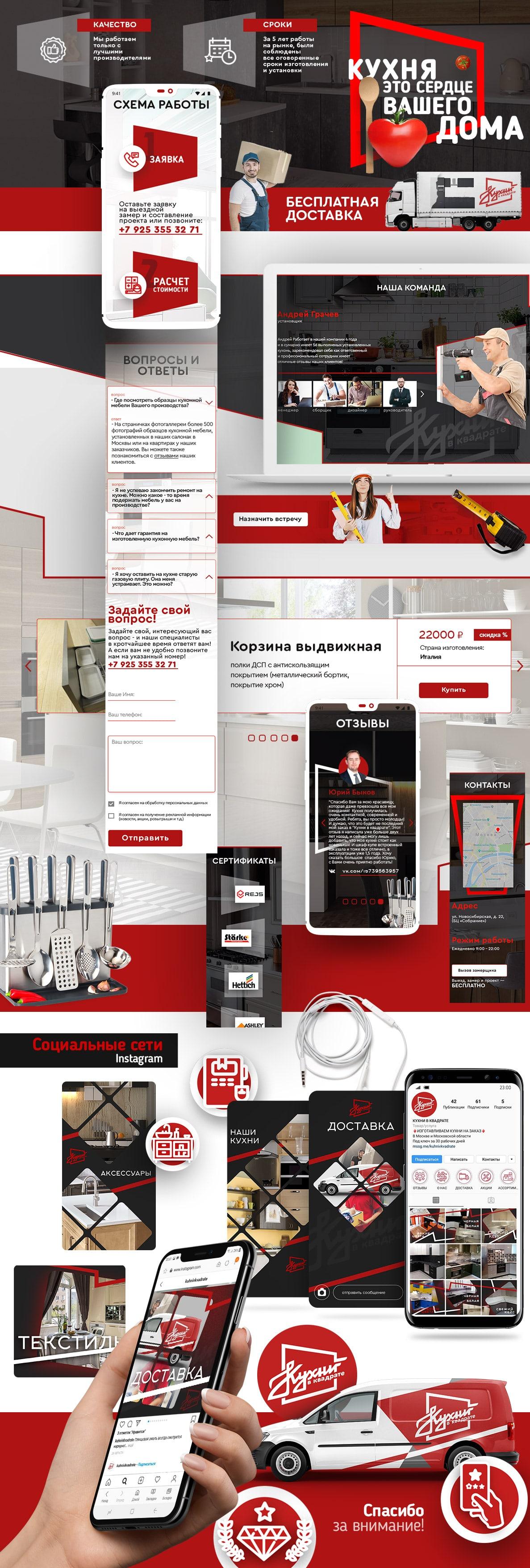 """Создание сайта для """"Кухни в квадрате"""""""